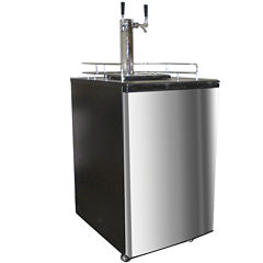 Nostalgia KRS6100SS 6.1 Cubic-Foot Full Size Double Tap Stainless Steel Draft Beer Dispenser