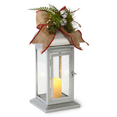 North Pole Trading Co. Nordic Frost Silver Metal Decorative Lantern