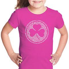 Los Angeles Pop Art Lyrics To When Irish Eyes Are Smiling Short Sleeve Graphic T-Shirt Girls