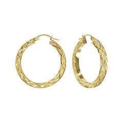 14K Yellow Gold Laser-Cut Square Tube Hoop Earrings