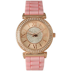 Olivia Pratt Womens Rhinestone Bezel Goldtone And Rhinestone Dial Light Pink Silicone Watch 40034Light Pink