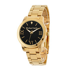 Personalized Gold Tone Black Dial Stainless Steel Bracelet Watch