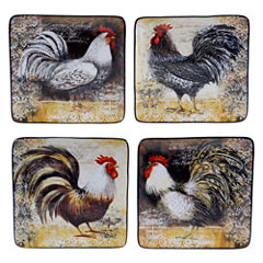 Certified International Vintage Rooster Set Of 4 Dessert Plates