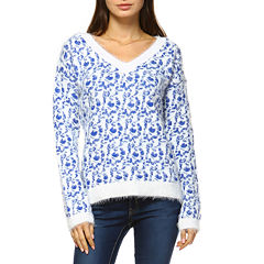 White Mark Leopard Pattern Pullover Sweater