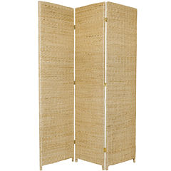 Oriental Furniture 6' Rush Grass Woven 3 Panel Room Divider