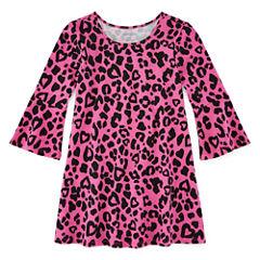 Okie Dokie Short Sleeve Cheetah A-Line Dress - Toddler Girls