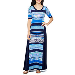 Rabbit Rabbit Rabbit Design Elbow Sleeve Stripe Maxi Dress