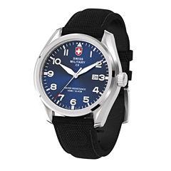 Swiss Military By Charmex Pilot Mens Black Strap Watch-78333_11_D