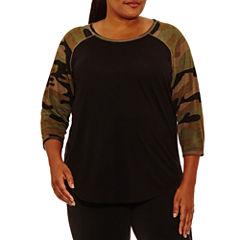 Xersion 3/4 Sleeve Crew Neck T-Shirt-Womens Plus