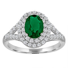 Simulated Emerald & White Sapphire Sterling Silver Ring