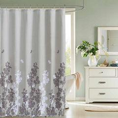 Kensie Ellamay Satin Look Micfiber Shower Curtain