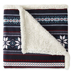 JCPenney Home Fairisle Sherpa Throw
