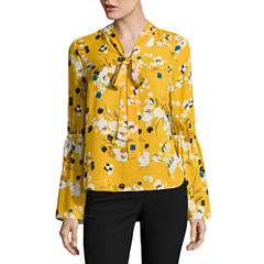 Worthington Bell Sleeve Tie Neck Blouse