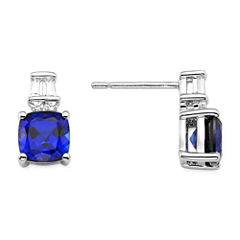 Lab Created Blue And White Sapphire Sterling Silver Earring