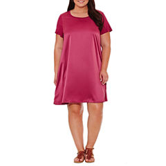 Spense Short Sleeve Sheath Dress-Plus