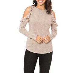 T.D.C Long-sleeve Cold Shoulder Ruffle Top