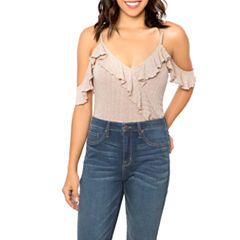 T.D.C Cold Shoulder Ruffle Sleeve Bodysuit