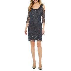 MSK 3/4 Sleeve Cold Shoulder Beaded Sheath Dress