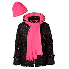 Pink Platinum Heavyweight Star Puffer Jacket - Girls-Toddler