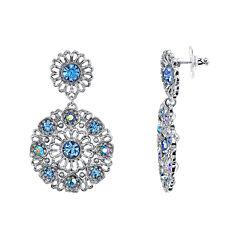 1928® Jewelry Blue Stone Round Drop Earrings