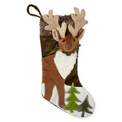 North Pole Trading Co. Winter Lodge 3D Reindeer Christmas Stocking