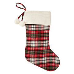 North Pole Trading Co. Winter Lodge Red Plaid Tartan Christmas Stocking