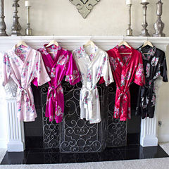 Cathy's Concepts Personalized Floral Satin Satin Kimono Robes