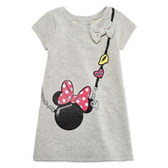 Disney by Okie Dokie Short Sleeve Minnie Mouse A-Line Dress - Toddler Girls