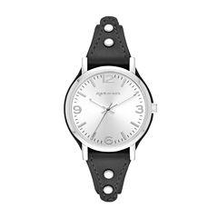 Arizona Womens Silver Tone Black Strap Watch