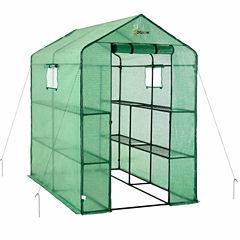 Ogrow Large Heavy Duty Walk-In 2 Tier 8 Shelf Portable Lawn And Garden Greenhouse