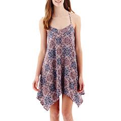 My Michelle® Sleeveless Batik T-Back Slip Dress- Juniors