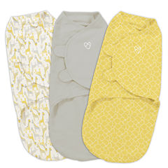 Summer Infant Original Swaddle 3-Pk; Yellow Safari (Sm) 3-pc. Swaddle Blanket