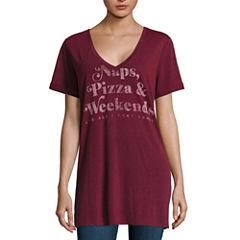 Lace Back Graphic T-Shirt- Juniors