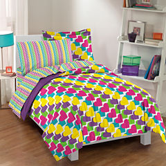 Dream Factory Rainbow Hearts Comforter Set