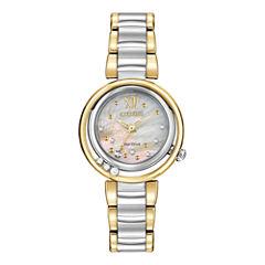 Citizen® Eco-Drive® Womens Diamond-Accent Two-Tone Watch EM0324-58D
