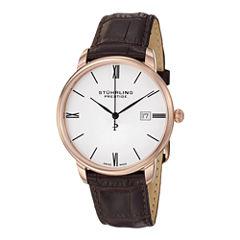 Stührling® Original Mens Brown Leather Strap Watch