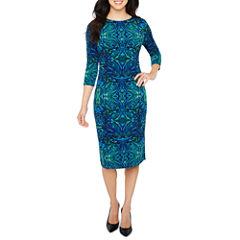Liz Claiborne 3/4 Sleeve Pattern Sheath Dress
