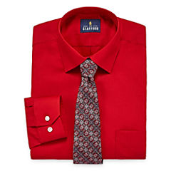 Stafford Travel Easy-Care Long Sleeve Shirt and Tie Set