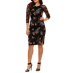 Bisou Bisou 3/4 Sleeve Floral Shift Dress