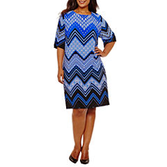 Studio 1 Elbow Sleeve Chevron Sheath Dress-Plus
