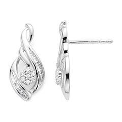 diamond blossom 1/4 CT. T.W. Diamond n Sterling Silver Earrings