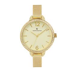 Worthington® Womens Gold Tone Mesh Bracelet Watch