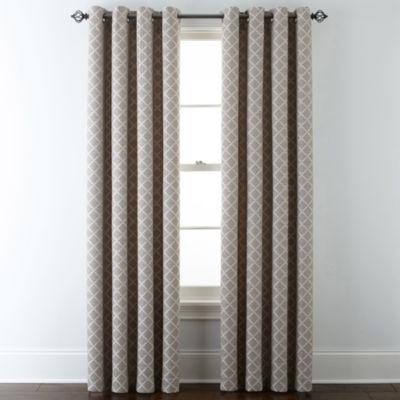 JCPenney Home™ Quinn Lattice Grommet Top Curtain Panel