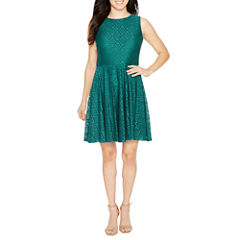 Danny & Nicole Sleeveless Lace A-Line Dress