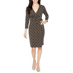 Black Label by Evan-Picone 3/4 Sleeve Geometric Wrap Dress