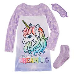 Jelli Fish Kids 3 Pc Gown Eyemask And Socks Long Sleeve Nightgown-Big Kid Girls