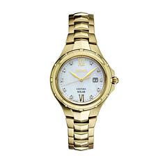 Seiko Womens Gold Tone Bracelet Watch-Sut310