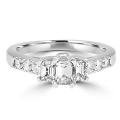 Womens 1 CT. T.W. Genuine Emerald White Diamond 14K Gold Engagement Ring