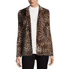 Libby Edelman Leopard Print Velvet Blazer