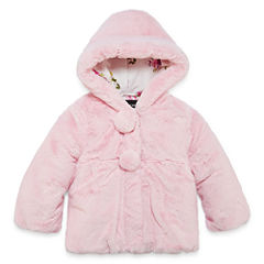 S Rothschild Girls Midweight Teddy Fur Jacket-Preschool
